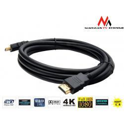 Kabel HDMI-HDMI Maclean MCTV-525 1.8m v1.4 gold ethernet 30AWG polybag